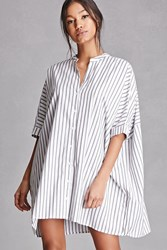 Forever 21 Striped Shirt Dress White Black