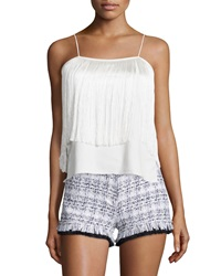 Alexis Aimee Sleeveless Fringe Top White