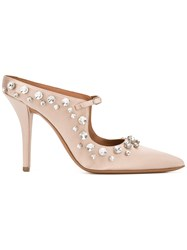 Givenchy Crystal Embellished Satin Mules Pink Purple