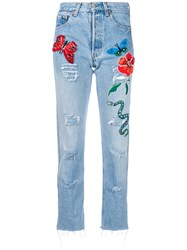 History Repeats Embroidered Jeans Blue