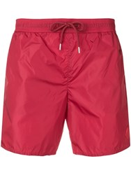 Moncler Mid Rise Swim Shorts Red