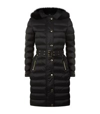 Burberry Fur Trim Puffer Coat Female Black
