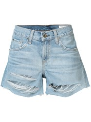 Rag And Bone Jean Ripped Denim Shorts Women Cotton 25 Blue