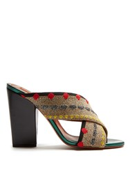Missoni Cross Strap Block Heel Mules Multi