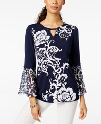 Jm Collection Printed Chiffon Cuff Top Navy Shadow Scroll