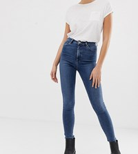 9688c9b227134 Asos Design Tall Ridley High Waist Skinny Jeans In Mid Wash Blue