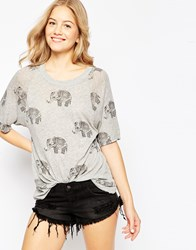 Wildfox Couture Wildfox Roaming Elephants T Shirt Vintage Lace