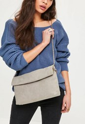 Missguided Grey Roll Top Clutch Bag