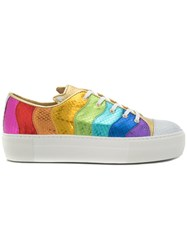 Charlotte Olympia Metallic Purrrfect Sneakers Leather Rubber Multicolour