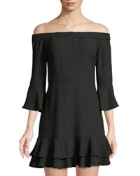 Romeo And Juliet Couture 3 4 Sleeve Off The Shoulder Ruffle Dress Black