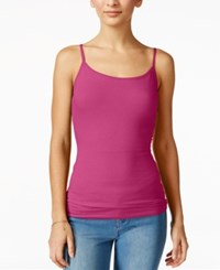 Planet Gold Juniors' Spaghetti Strap Tank Top Hibiscus Pink
