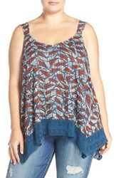 Plus Size Women's Lucky Brand Lace Trim Print Sweetheart Neckline Tank