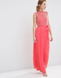 Asos Pearl Bodice Maxi Dress Coral Red