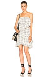 Isa Arfen Full Ruffle Mini Dress In Checkered And Plaid White