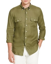 Polo Ralph Lauren Linen Utility Classic Fit Button Down Shirt Mill Olive