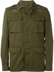 Roberto Cavalli Scorpio Embroidered Military Jacket Green