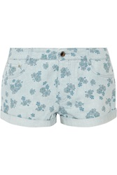 Stella Mccartney Floral Print Denim Shorts Blue