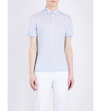 Etro Paisley Trimmed Silk And Cotton Blend Polo Shirt Blue