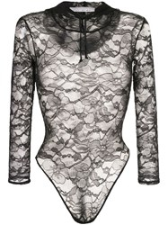 Fleur Du Mal Chat Lace Hooded Bodysuit Black