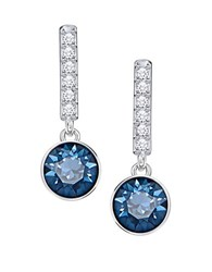 Swarovski Rhodium Plated Round Short Pierced Earrings Silver