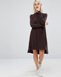 Asos Knit Tunic Dress In Cashmere Mix Chocolate Brown