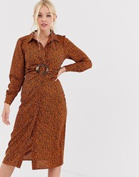 Qed London Shirt Dress With Buckle In Abstract Print Brown