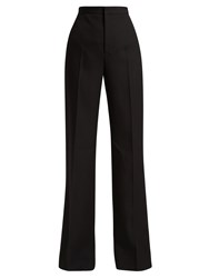 Givenchy High Waisted Pleated Flared Wool Trousers Black