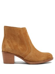 A.P.C. Cowboy Suede Ankle Boots Brown