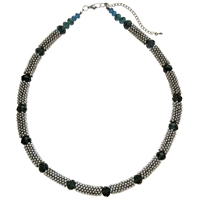 John Lewis Rhodium Plated Beads Glass Necklace Silver Black