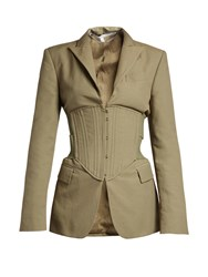 Stella Mccartney Peak Lapel Corset Panel Jacket Khaki