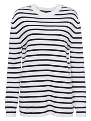 French Connection Mozart Milano Stripe Jumper Summer White Utility Blue
