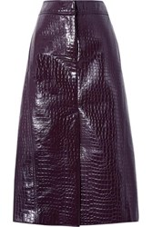 Tibi Croc Effect Faux Patent Leather Midi Skirt Grape