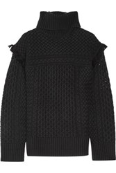 Rachel Zoe Aribella Fringed Cable Knit Wool And Cashmere Blend Turtleneck Sweater Black