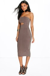 Boohoo Bandeau Cut Out Waist Midi Dress Grey
