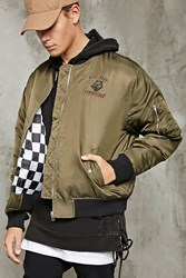 Forever 21 Embroidered Bomber Jacket Olive Black