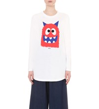 Mini Cream Monster Print Cotton Jersey T Shirt White