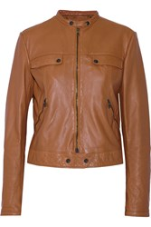 Tomas Maier Blouson Leather Jacket Brown