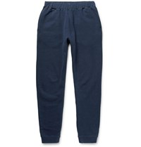 Sunspel Tapered Brushed Loopback Cotton Jersey Sweatpants Blue