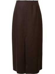 Tome Felt Slit Midi Skirt Brown
