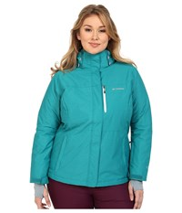 Columbia Plus Size Alpine Action Omni Heat Jacket Emerald Crossdye White Women's Coat Blue
