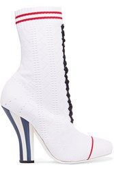 Fendi Stretch Knit Ankle Boots White