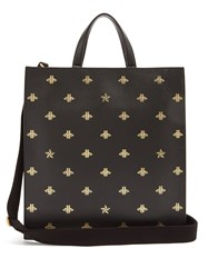 Gucci Bee Print Leather Tote Black Multi