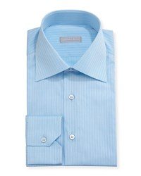 Stefano Ricci Striped Cotton Dress Shirt Blue