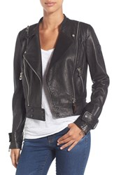 Rudsak Women's Double Zip Moto Leather Jacket Black