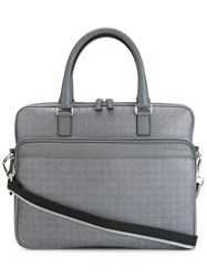 Salvatore Ferragamo Gancio Embossed Briefcase Grey