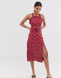 Fashion Union Curved Neckline Midi Dress With Waist Belt In Floral Red