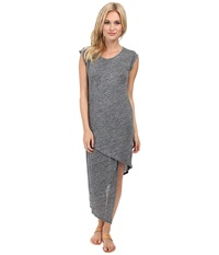 Alternative Apparel Linen Asymmetrical Midi Dress Charcoal Heather Women's Dress Gray