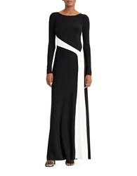 Lauren Ralph Lauren Colorblock Jersey Gown Black White