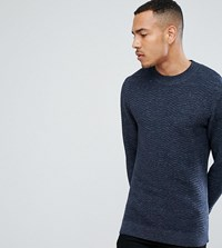 Selected Homme Tall Knitted High Neck Jumper With Texture Detail In 100 Cotton Dark Saphire Navy