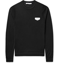 Givenchy Antigona Slim Fit Leather Appliqued Wool Sweater Black